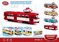"""Модель трамвай PLAY SMART 9708D """"Автопарк"""" инерц.откр.дв.свет,зв.кор.20*5,7*7,7 ш.к./24/"""