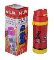 Термос детский с трубочкой 320мл вакуумный внутри  Красный с футболистом