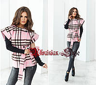 Женское короткое пальто с короткими рукавами и митенками. 2 цвета!
