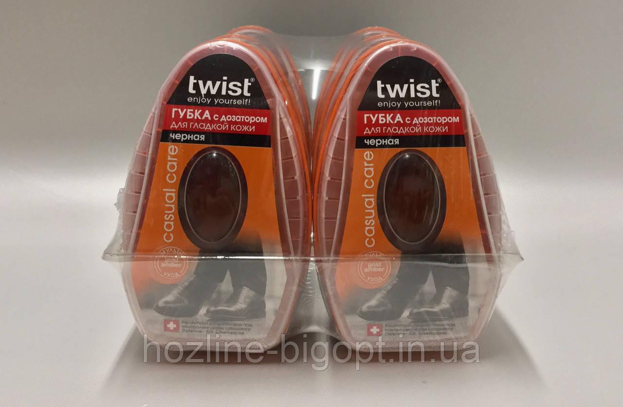 TWIST Губка-блеск для гладкой кожи с силиконовым дозатором ЧЕРНАЯ