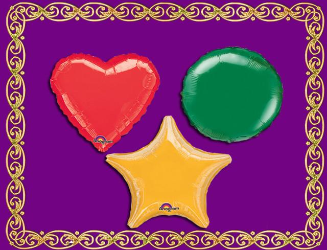 Фольгированные звезды, сердца, круги