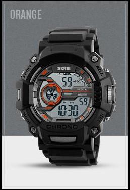 Водостойкие часы Skmei 1233 черные с оранжевым
