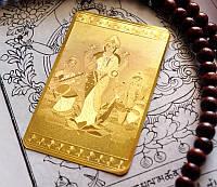 Денежная пластина метал золотой цвет Ганеш Лакшми Сарасвати