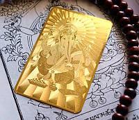 Денежная пластина метал золотой цвет Ганеш №3