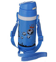 Термос детский с трубочкой 320мл. Голубой с футболистом, низ прорезинен.