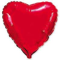 """Шар в форме сердца с гелием 18"""" металлик красное"""