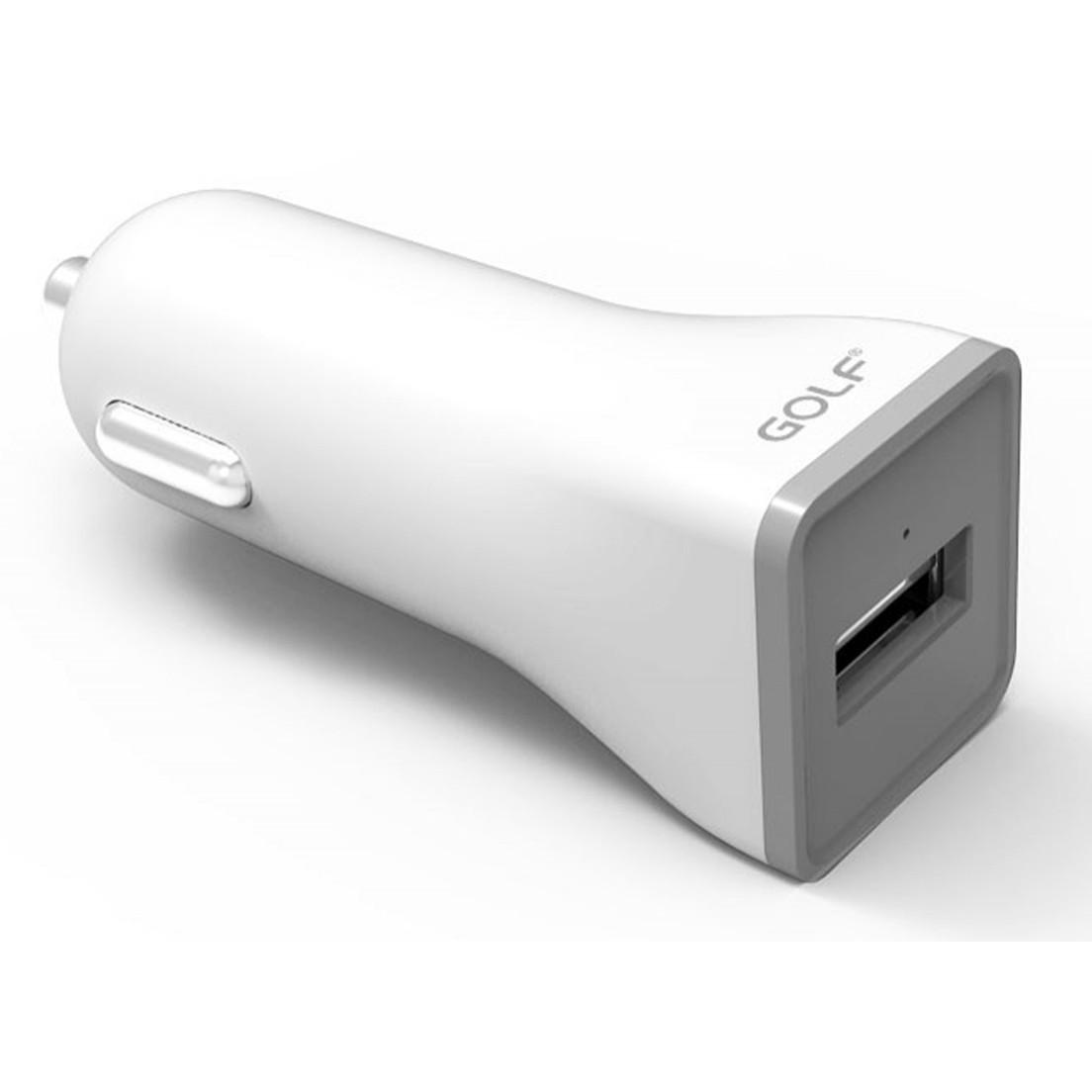 Автомобільний зарядний пристрій GOLF GF-C3 Car charger + Lightning cable 1USB 1A White