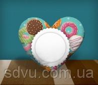 "Подушка сердце с местом для сублимации А4 формата ""Donuts"""