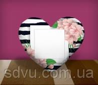"Подушка сердце с местом для сублимации А4 формата ""Flowers"""