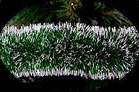 Мишура Новогодько 75 мм.Зеленый металлик с белым кончиком 2 метра