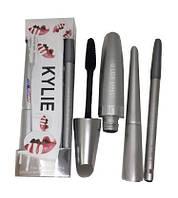 Набор Kylie 3 в 1 (тушь, карандаш, подводка) (серебряный набор)