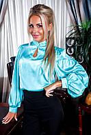 Брючный костюм с шелковой блузкой ментоловый