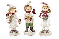 "Елочная игрушка 707-151 подвеска ""Ребенок с подарком"", керамика 15,5х5,5х7,5см 3вида"