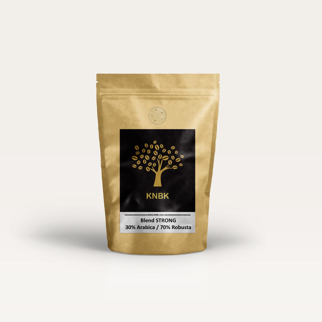 Купаж сортов KNBK STRONG (Арабика 30% / Робуста 70%) Пробник 100г. Свежеобжаренный кофе в зернах