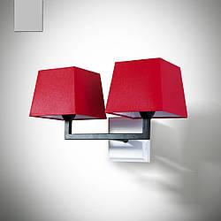 Бра 2 ламповое в стиле модерн с красным абажуром 14102-1