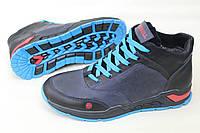 Мужские зимние кожаные ботинки Merrell синего цвета (990)