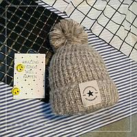Женская теплая вязаная шапка с бубоном (помпоном) Star бежевая, фото 1