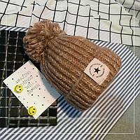 Женская теплая вязаная шапка с бубоном (помпоном) Star рыжая