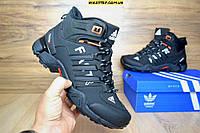 Мужские зимние кроссовки Adidas Terrex FASTR черные с мехом реплика (реальные фото)