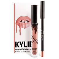 Матовая помада жидкая и карандаш Kylie Lipstick & Lip Liner Кайли (набор), Apricot