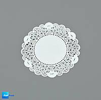 Ажурная салфетка, бумажная, круглая, белая, 100 мм, 100 шт/уп