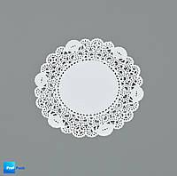 Ажурная салфетка, бумажная, круглая, белая, 115 мм, 100 шт/уп