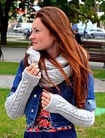 Женские рукавички митенки длинные, фото 1