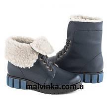 Ботинки кожаные зимние женские синие  38 р арт 5200  LudJen.