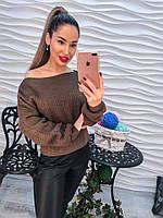 """Женский модный свитер вязаный """"летучая мышь"""" со шнуровкой (3 цвета)"""