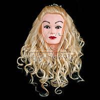 Учебный манекен для причесок, укладок и плетения PROFI №1-G с натуральными волосами, белый