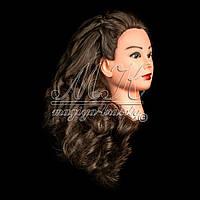 Учебный манекен для причесок, укладок и плетения PROFI №2-G с натуральными волосами, каштан