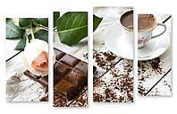Модульная картина шоколадка и кофе