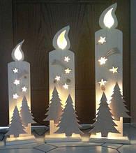 Новогодний декор из пенопласта - елки, снежинки, олени, сани 6