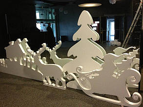 Новогодний декор из пенопласта - елки, снежинки, олени, сани 13