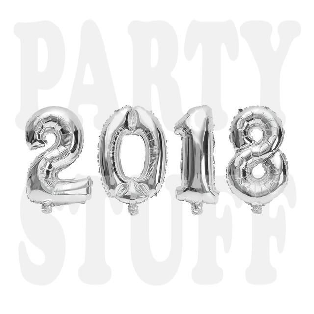 новогодние фольгированные шары 2018 серебро