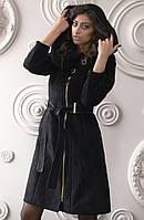 Дубленка женская средней длины модная Д-51 из искусственного дубляжа с довязом, фото 1