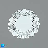 Ажурная салфетка, бумажная, круглая, белая, 190 мм, 100 шт/уп
