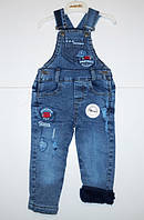 Детский джинсовый комбинезон на махре для мальчика Микки
