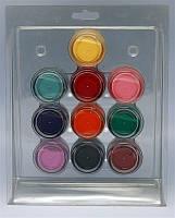 Набор цветных акрилов для моделирования ногтей YRE ACN-01 в блистере по 10 шт, акриловая пудра, цветной акрил, акрил для ногтей, акриловая система