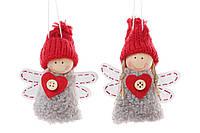 Елочная игрушка 781-251 набор подвеска Куколки-ангелы 2шт, ткань 7,5х11см уп24