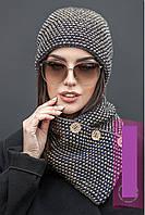 Модный вязанный набор Шапка+шарф-хомут