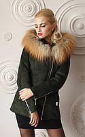 Дубленка модная женская короткая Д-55 из искусственного дубляжа с натуральным мехом чернобурки., фото 1