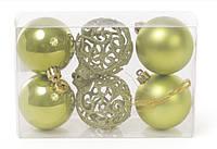 Набор елочных шаров 147-972 Рождественский Зеленый 6смх6шт пластиковые, матовый, перламутр, ажур с блеском