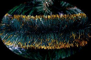 Новорічна мішура 75 мм. Зелена з золотим кінчиком 2 метри