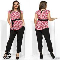 Женский повседневный костюм: блузка красного цвета с коротким рукавом + штаны. Модель 13589. Батальные размеры