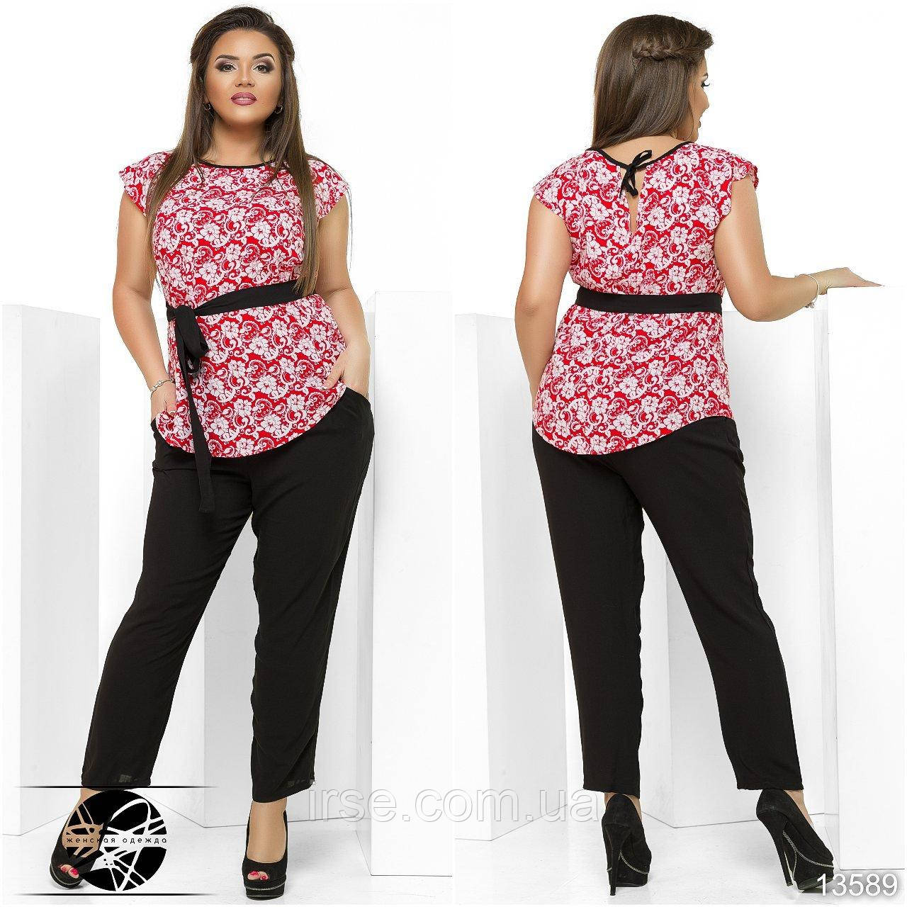 85819083a01 Женский повседневный костюм  блузка красного цвета с коротким рукавом +  штаны. Модель 13589. Батальные размеры