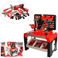 Детский игровой набор инструментов 8012, верстак, дрель(механ), пила, молоток, отвертка, 46дет, в кор, 52-31,5
