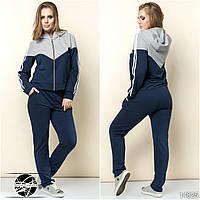 Женский спортивный костюм синего цвета: кофта на молнии с капюшоном и штаны. Модель 14825. Размеры 42-54