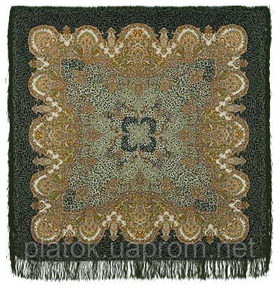 Край сандала в лоскуте 910-60-, павлопосадский платок (лоскут) шерстяной  с оверлок (подрубка) БЕЗ БАХРОМЫ