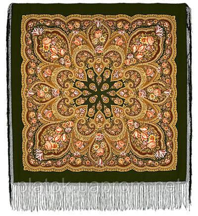 В лунном свете в лоскуте 1235-10-, павлопосадский платок (лоскут уплонтенной шерсти) шерстяной  с оверлок (подрубка) БЕЗ БАХРОМЫ